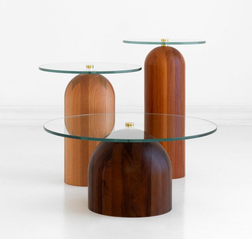 The Toco Table Combines Wooden Bases with Glass Tops