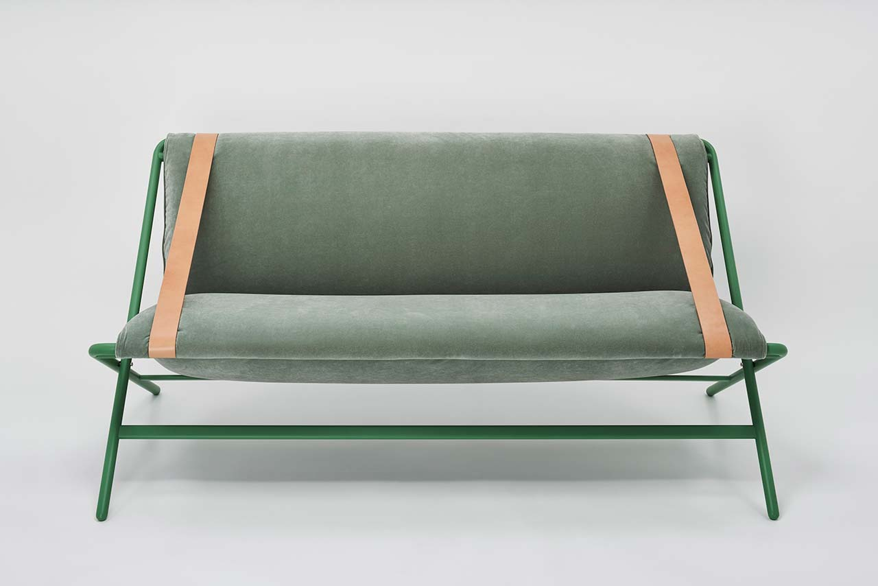 A Modern, Folding Sofa Made from Two Belts, a Frame, and a Cushion