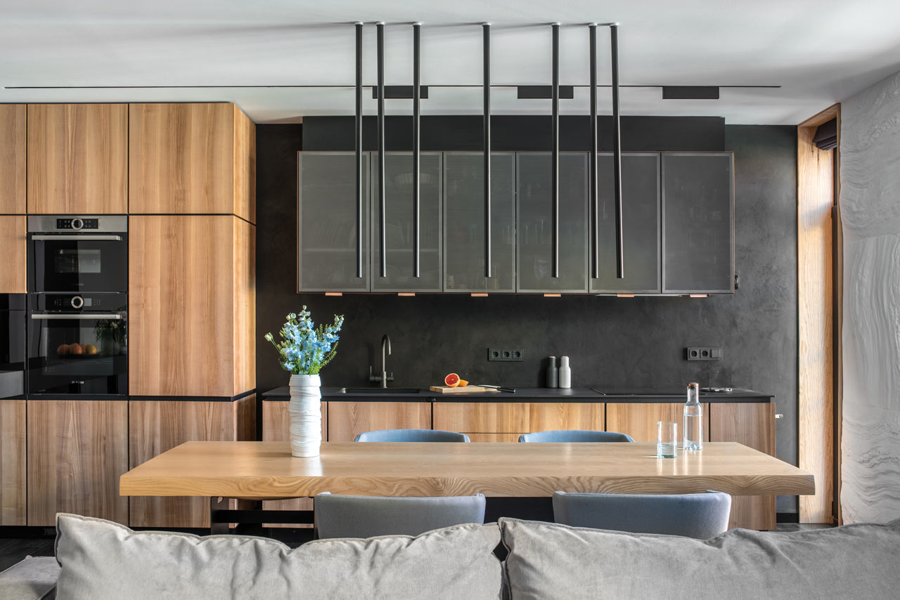 Two Apartments Merge into a Modern Apartment for a Family in Ukraine