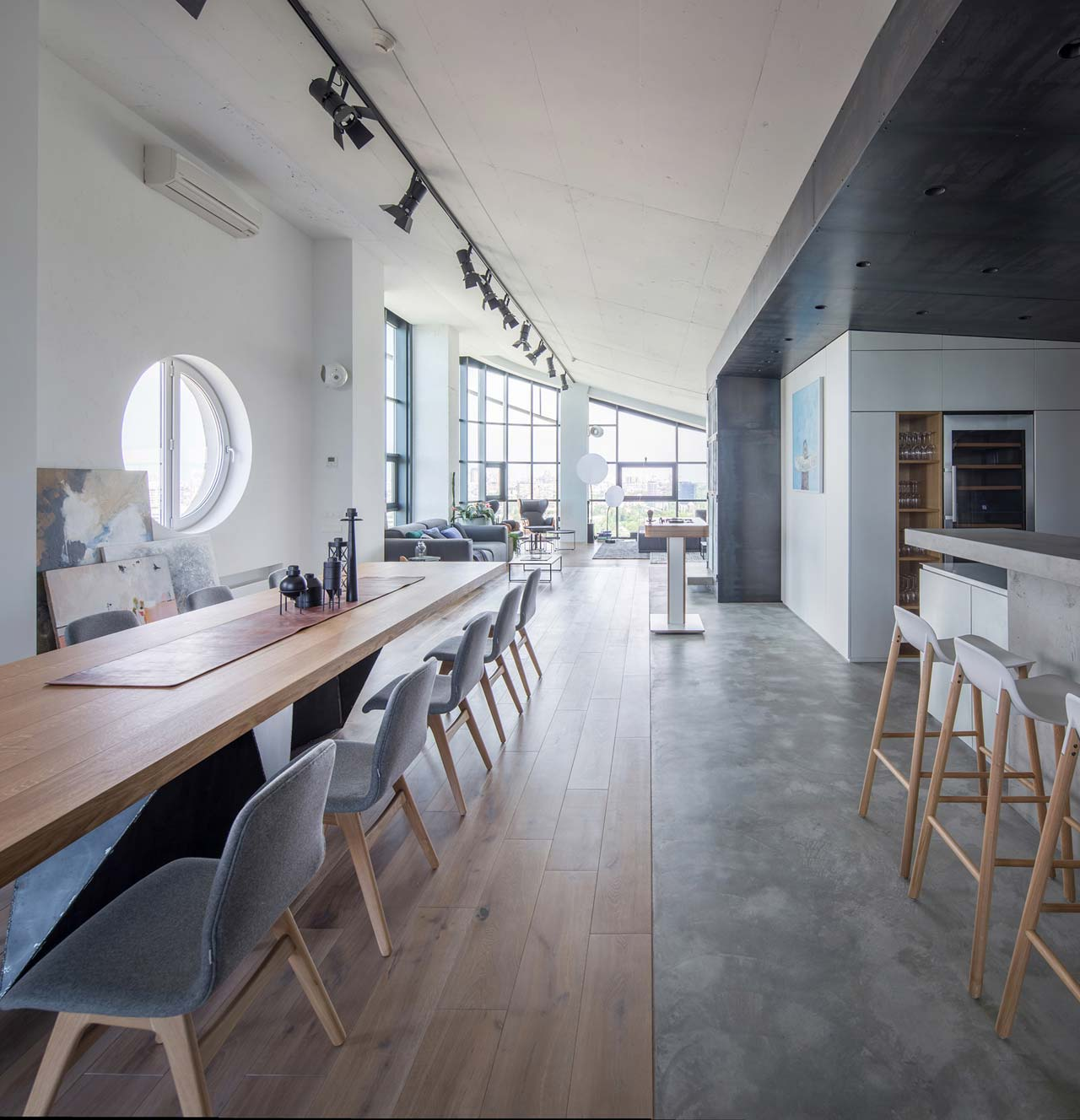A Former Equipment Room Is Converted into a Penthouse Apartment in Kiev