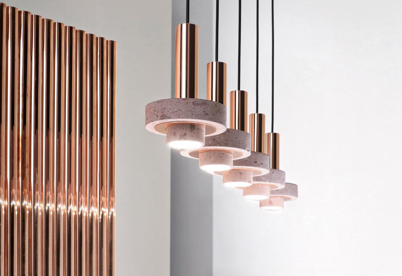 Studio davidpompa Expands Cantera Rosa and Copper Ambra Lighting Collection