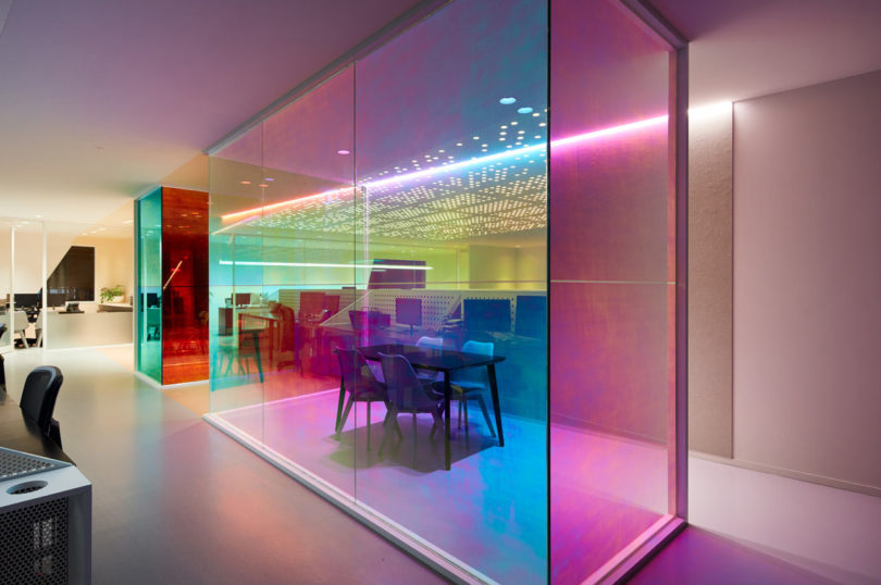 Ambience Designs An Office For Studio Y That Produces An Evolving Kaleidoscope Of Color All Day
