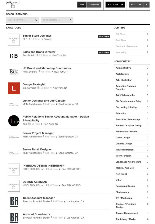 New Design Milk Job Board Listings from MEM Architecture, The Rug Company and Brendan Ravenhill