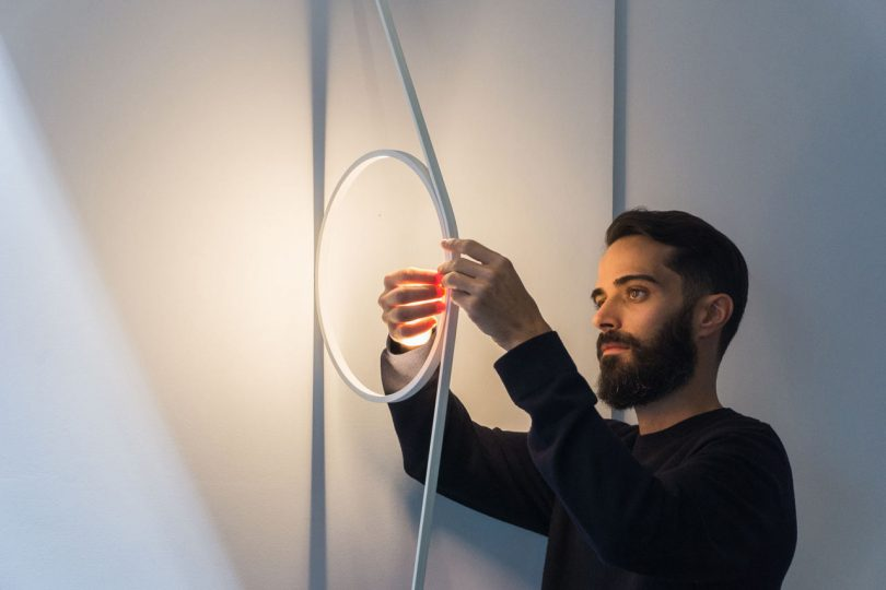 Wirering Is a Sculptural Light That Hovers Between a Wall and a Floor Lamp