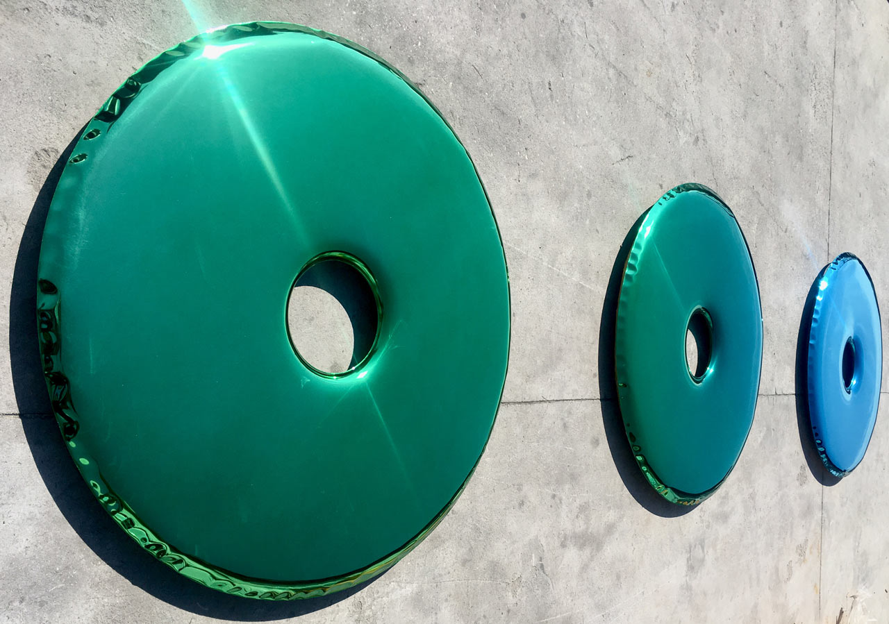 Blue/Green Gradient Mirrors Made From Inflated Metal by Oskar Zieta