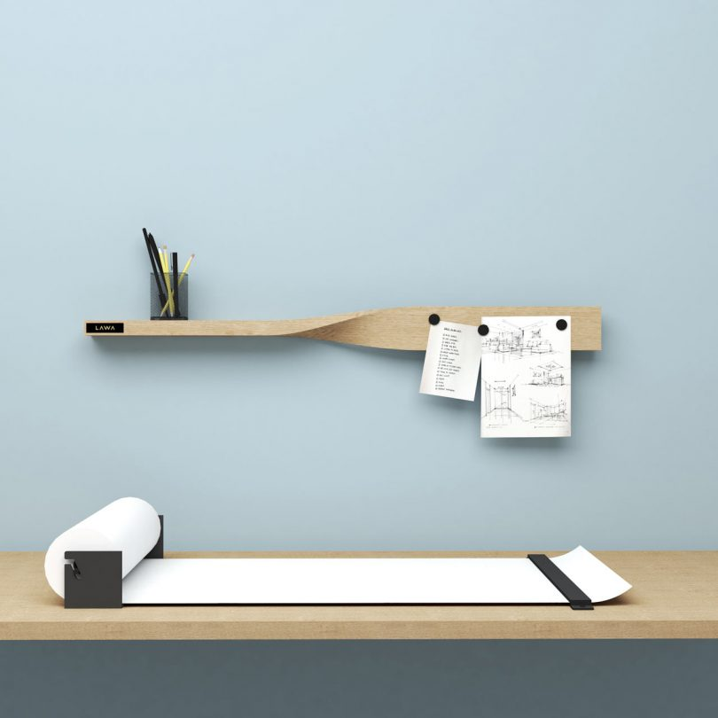 LAWA DESIGN Designs the Twist Shelf That Doubles as a Magnetic Board