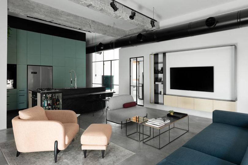 Ax3:ETN工作室在特拉维夫的现代阁楼公寓