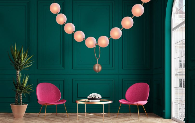 Larose Guyon Designs a Luminaire Resembling a String of Pearls
