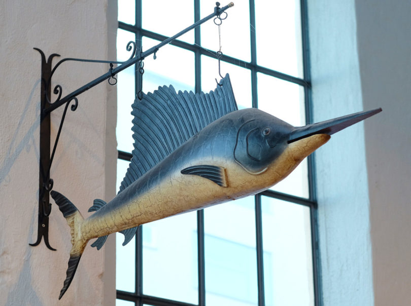 Hanging fish statue