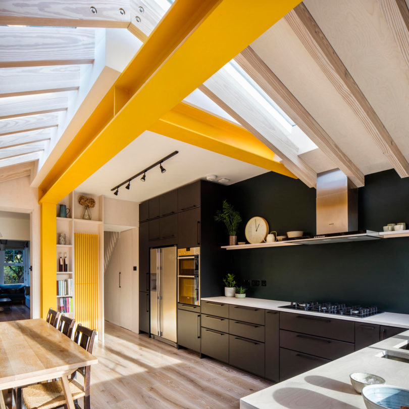 London's Yellow Metal Home Is a Colourful Extension to a Terraced