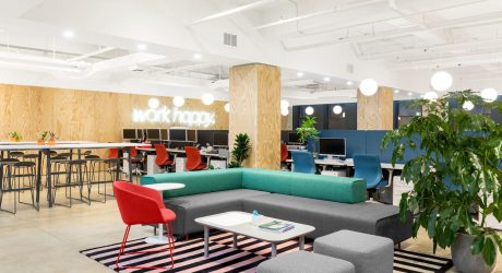 "Poppin Applies Their Slogan ""Work Happy"" to their NYC Headquarters"