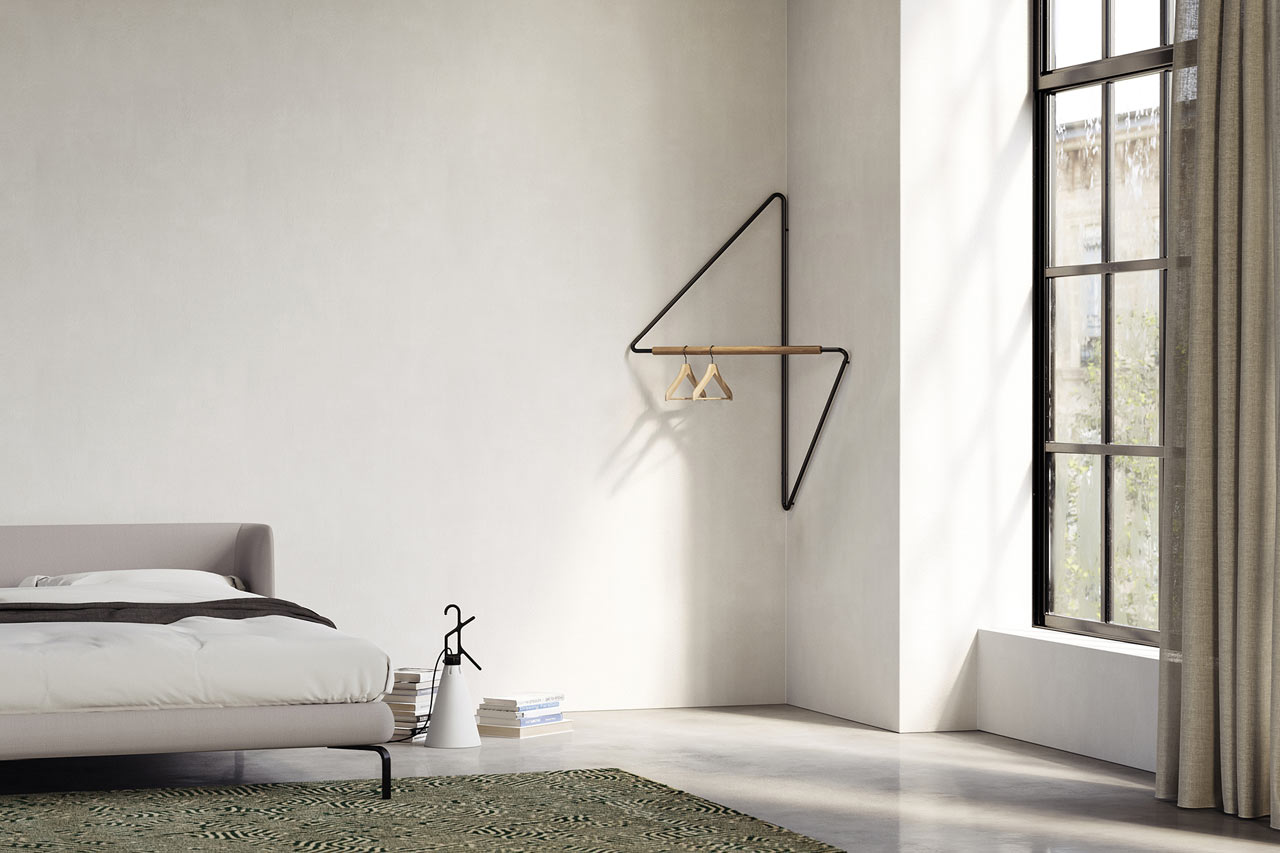 Ugao: A Clothes Rack That Saves Space in the Corner of a Room