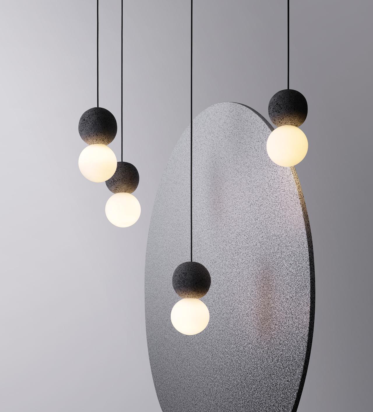 Studio davidpompa's Origo Lighting Explores Geometry and Volcanic Rock