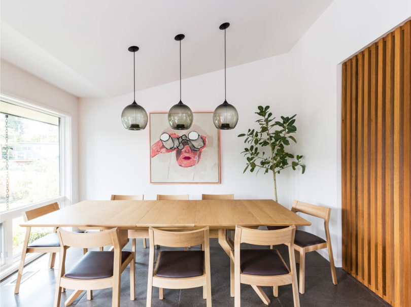 dining table next to kitchen