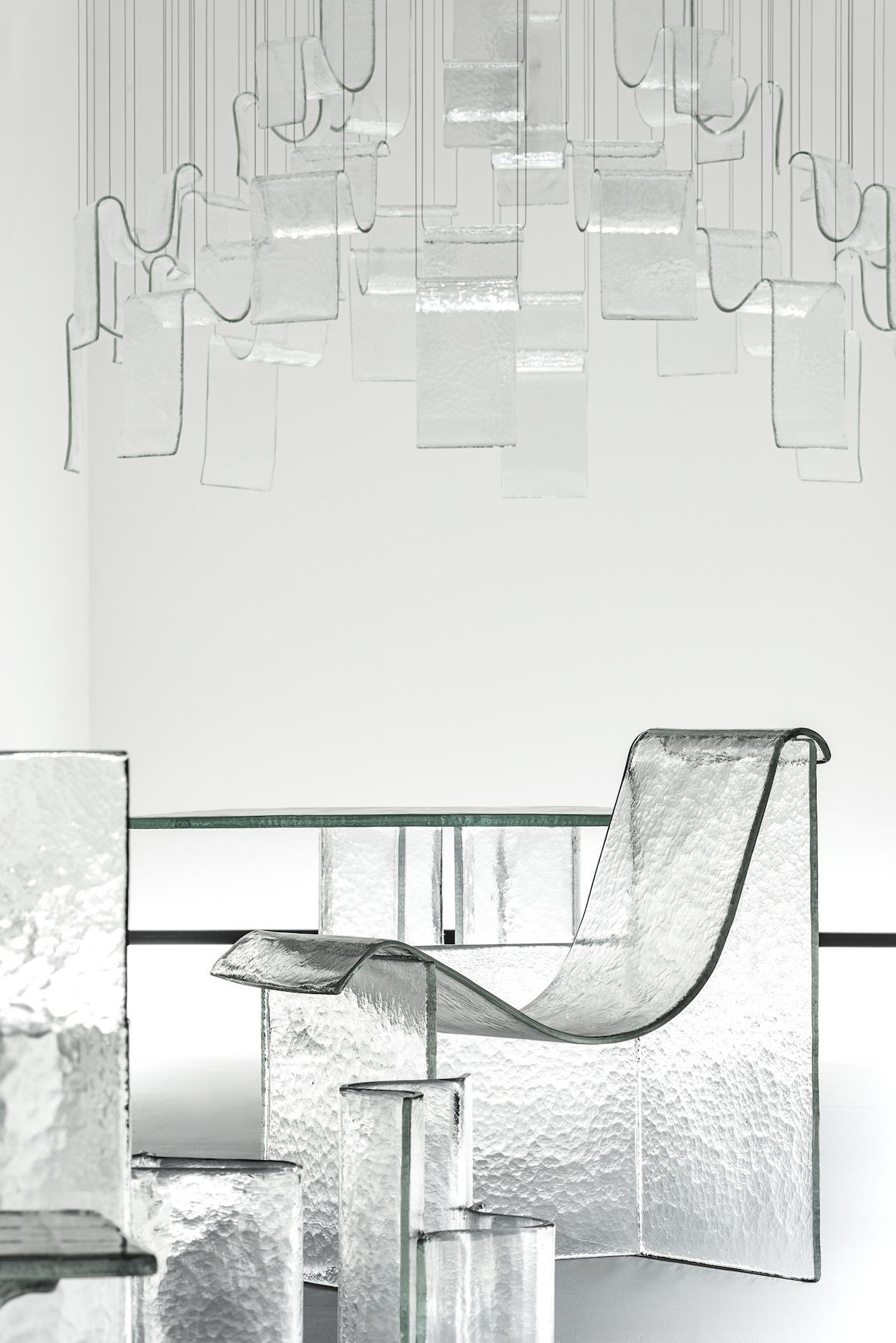 Nendo and WonderGlass' Melt Collection on Display in the Shape of Gravity