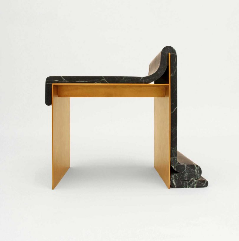 A Marble and Brass Chair That Looks as If It's Melting