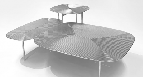 The Collate Table Collection Uses Aluminum as a Playful Canvas