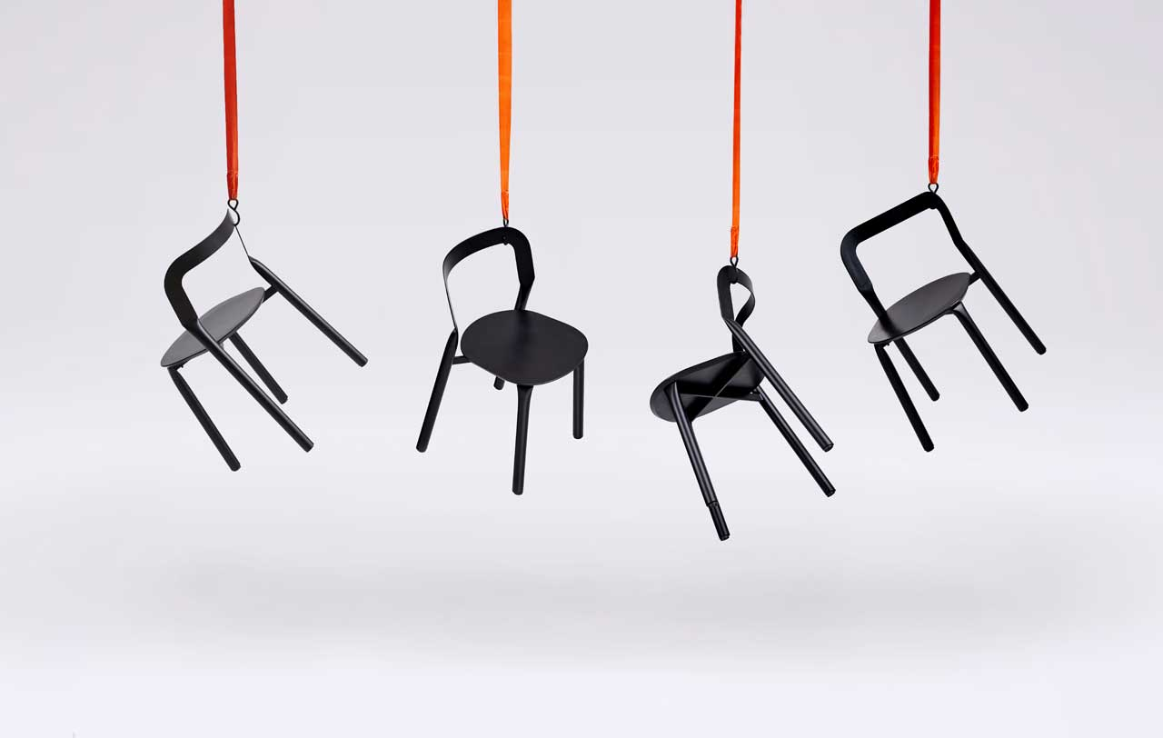 Adam Štok Designs a Set of Chairs Formed by a Hydraulic Press