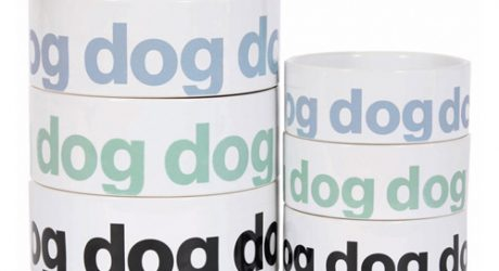 Helvetica Dog Bowls, Food Bins, and Treat Tins