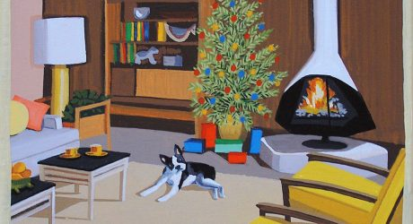 Mid-Century Dog Christmas Paintings by Linda Tillman