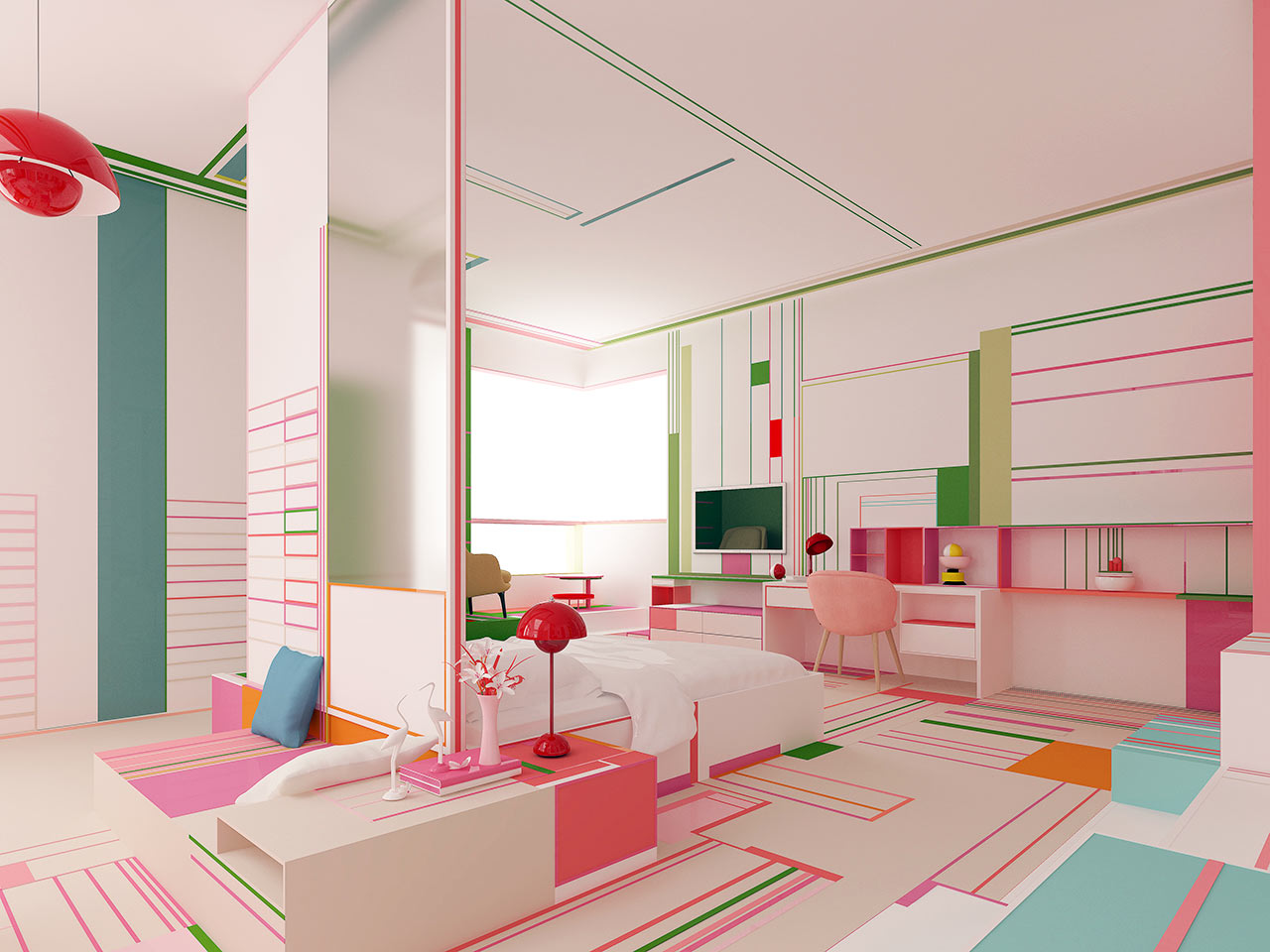 Brani & Desi's Pink Lake Breath Explores Color and Geometry