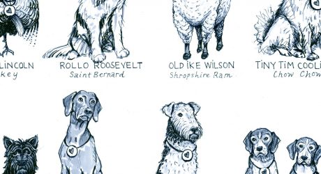 'Presidential Pets' Illustrated Art Print by Lauren Friedman