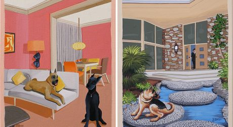 Mid-Century Modern Dog Paintings by Linda Tillman