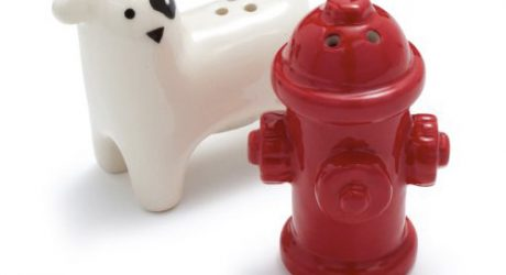 Dog and Hydrant Salt and Pepper Shaker