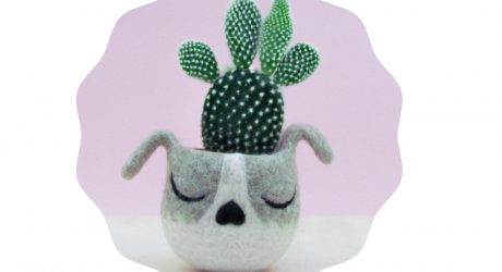 Felted Wool Dog Head Planter from Yarn Kitchen