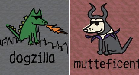 Dogzilla and Mutteficent Tees from Teddy the Dog