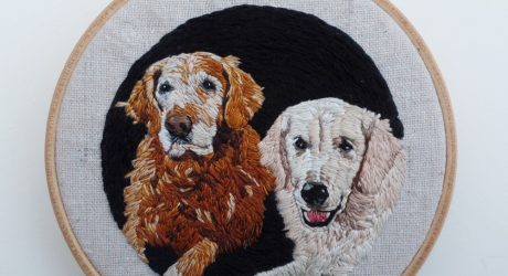 Custom Embroidered Pet Portraits by Kathy Halper