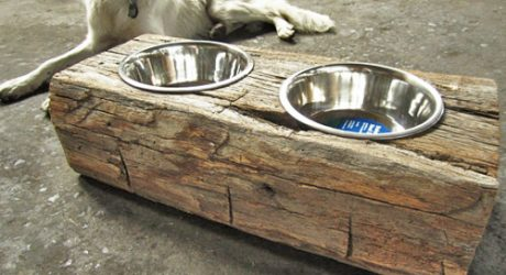 Reclaimed Wood Dog Feeders