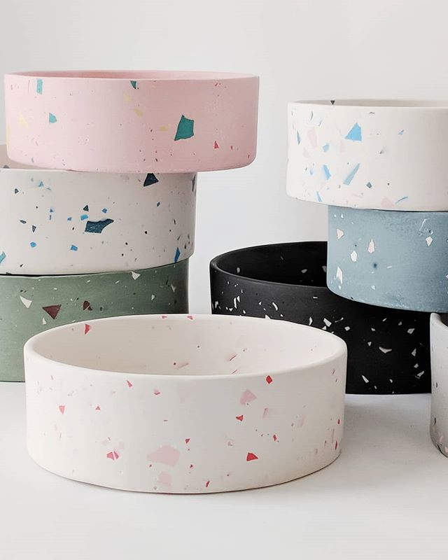 Terrazzo Dog Bowls From Four Legs Four Walls Design Milk
