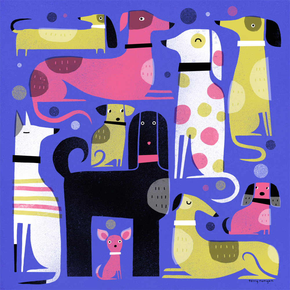 Dog Illustrations by Terry Runyan