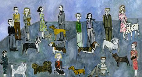 Oil and Collage Dogs by Vivienne Strauss