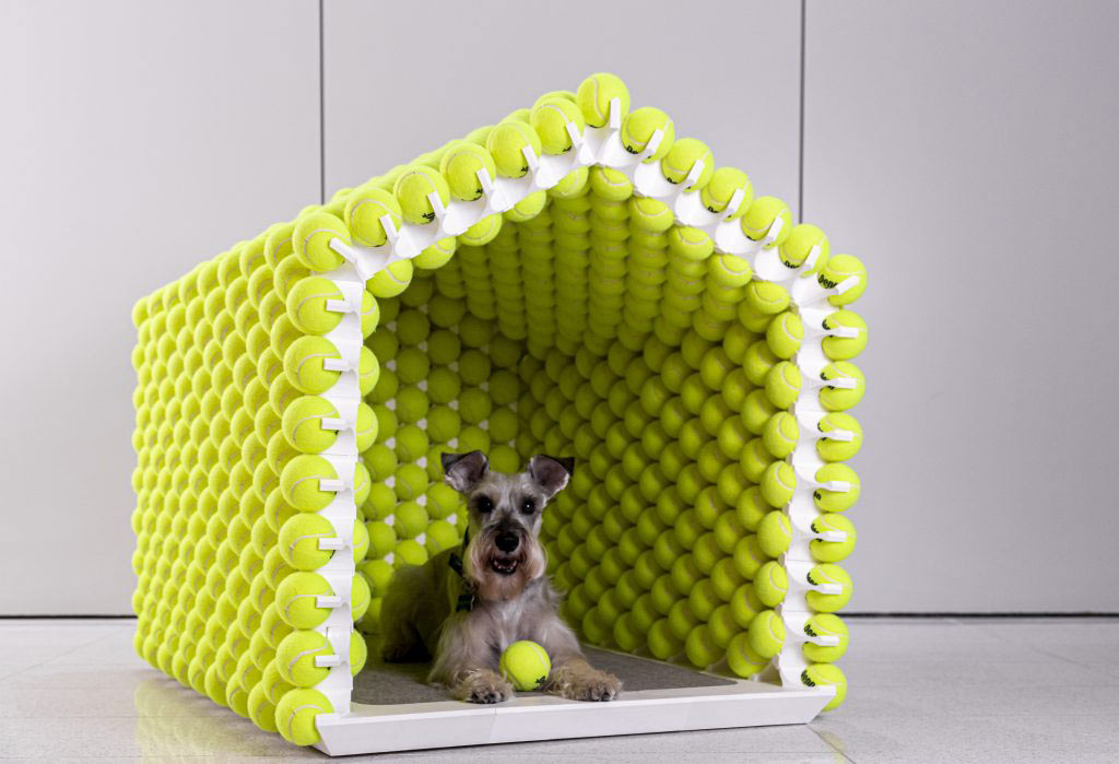 A Modular, 3D Printed Dog House Made of Over 1000+ Tennis Balls