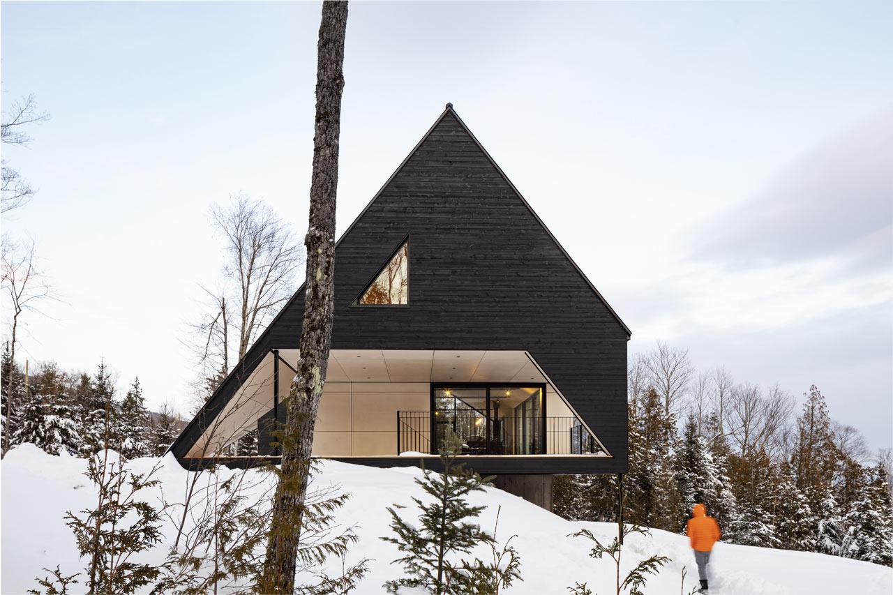 Cabin A: A Dramatic A-Frame Cabin in Québec's Charlevoix Region - Design Milk