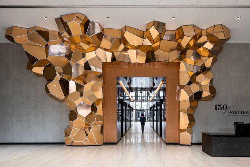 SOFTlab Creates a Copper Crystalline Structure to Greet Visitors