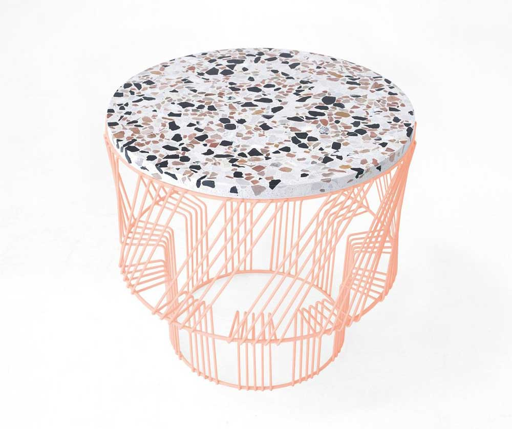 terrazzo style modern table with geometric base padstyle.com