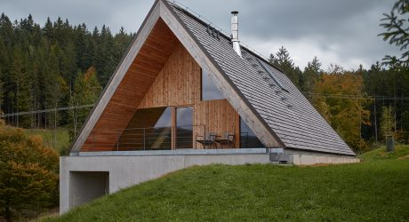 A Concrete + Wood A-Frame Blends Into the Beskydy Mountains