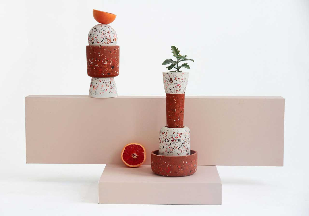 Les Pieds de Biche Brings Geometric Patterns + Fun Colors to Terrazzo