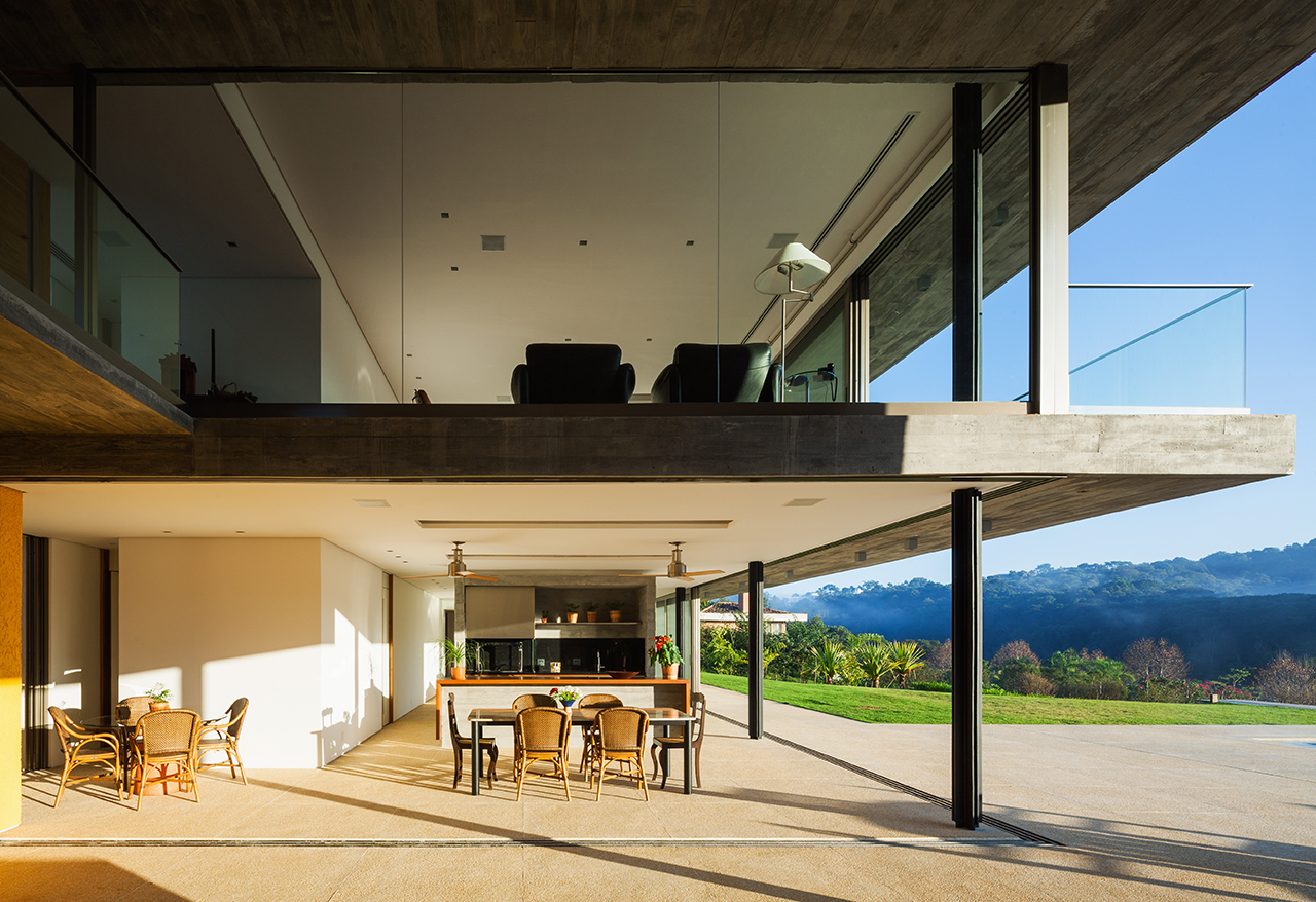 A Concrete Home in Brazil Split Into Levels for Night and Day