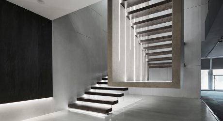 Neolith Creates an Art Installation-Like Showroom with Sintered Stone Surfaces