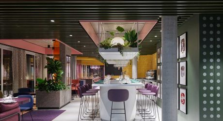 La Visione: A Restaurant with a Fresh, Colorful Design Featuring Carpet Collages