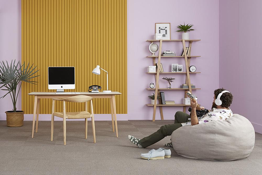 desk, shelves, work from home