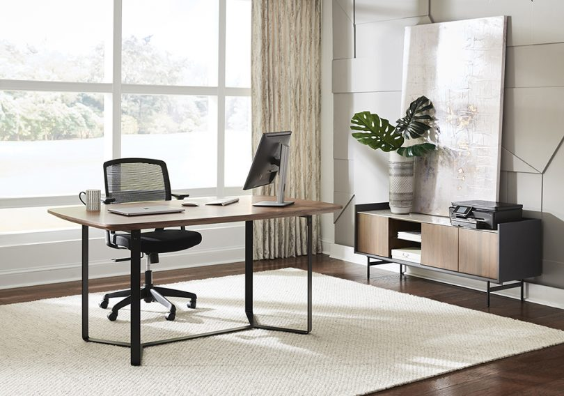 desk, credenza, work from home