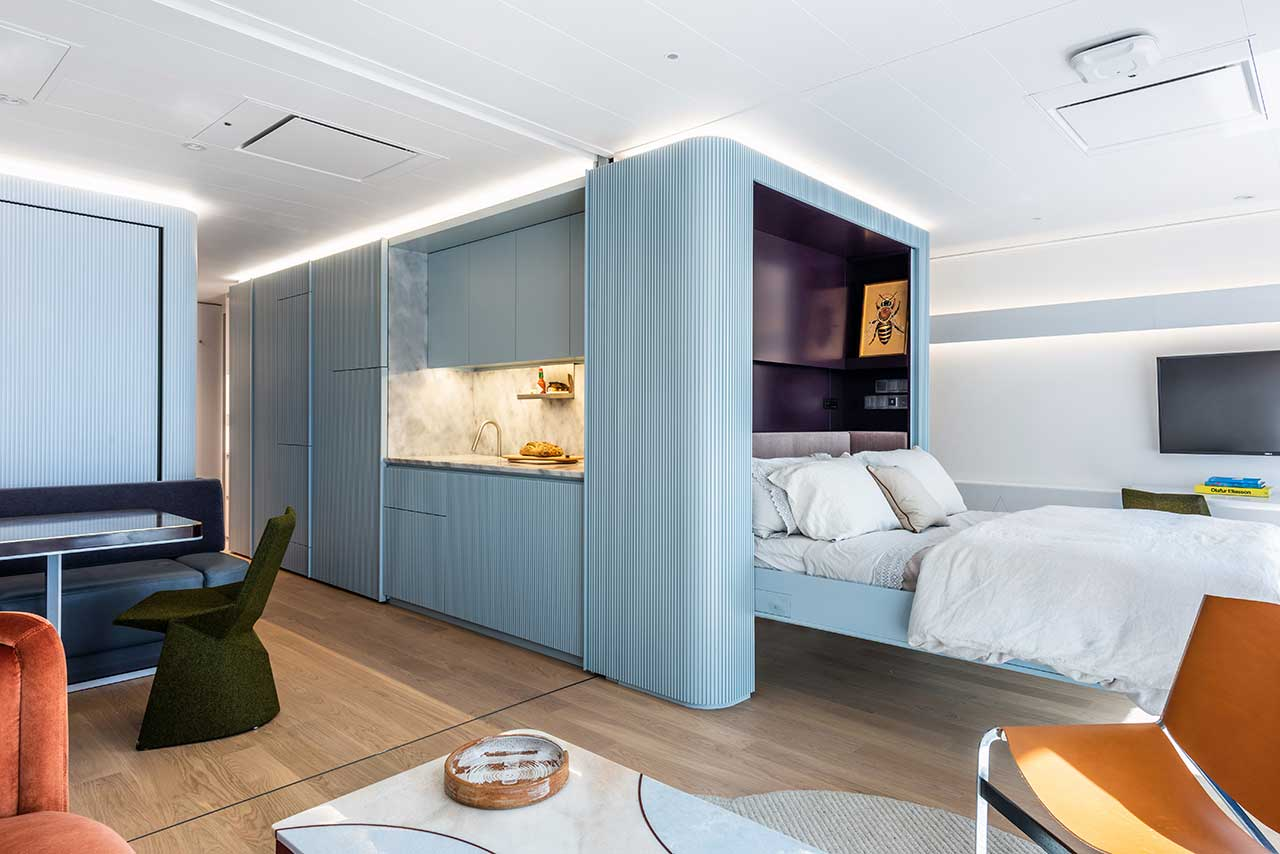An Apartment on a Residential Yacht That Transforms From One Bedroom To Two