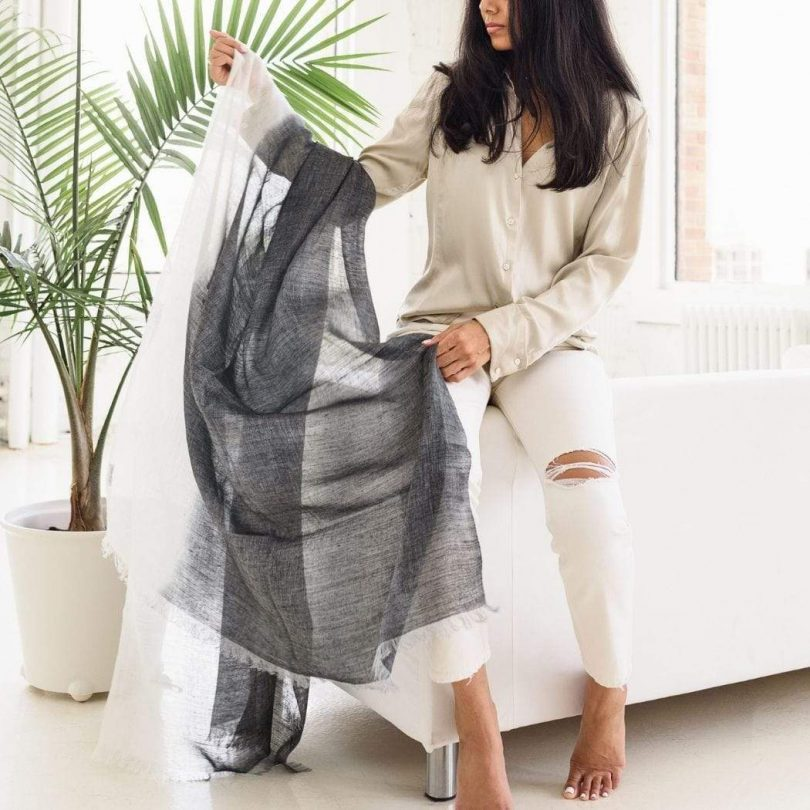 Image of studio variously hats scarves granite handwoven linen scarf design milk shop 810x810