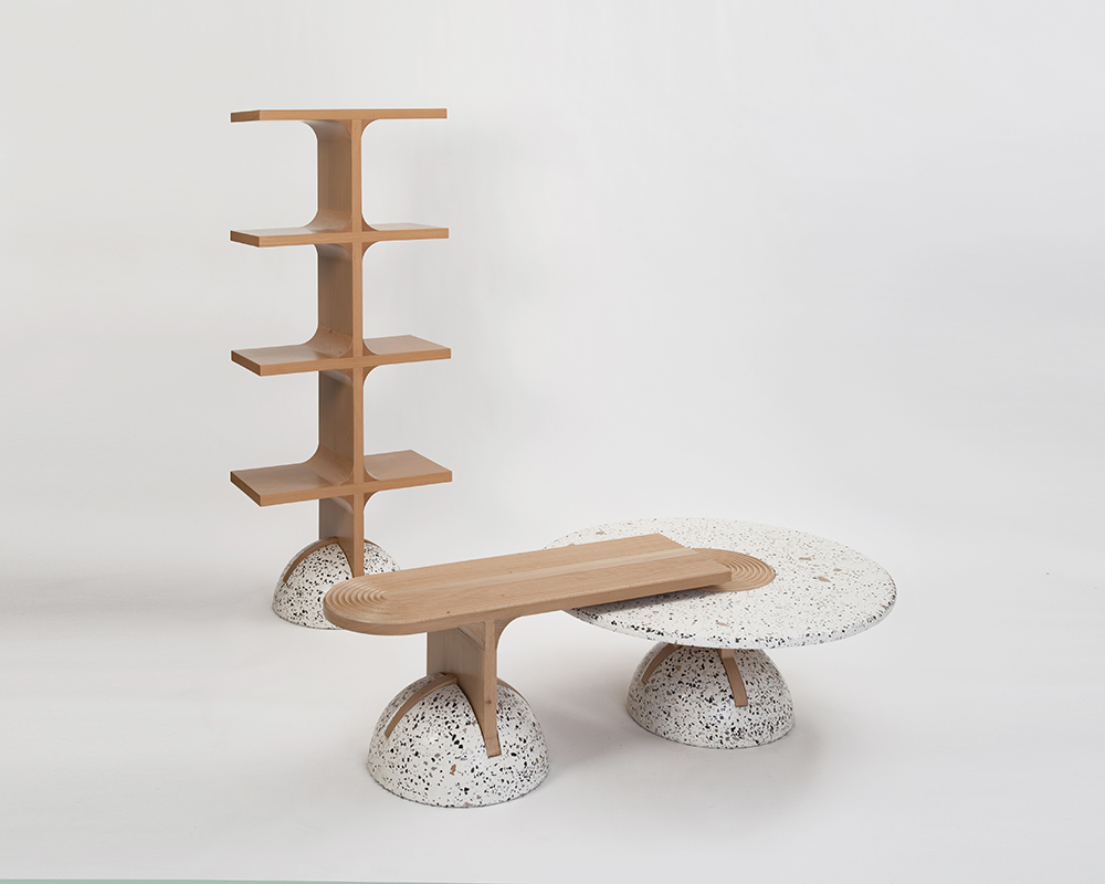 shelves bench table