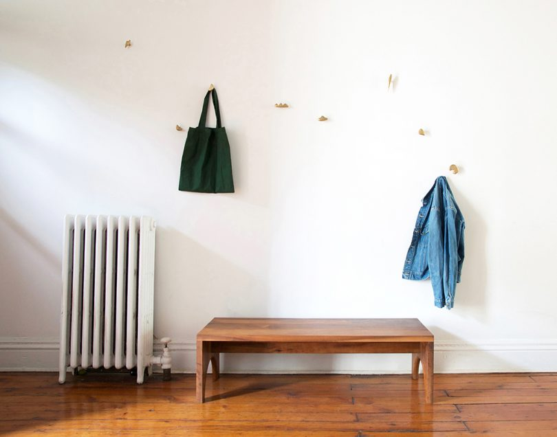brass drawer pulls on wall